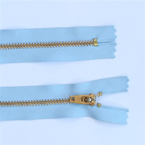 25cm Light blue gold tooth metal zip