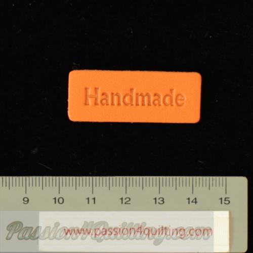 Handmade labels orange leather  15 x40 mm