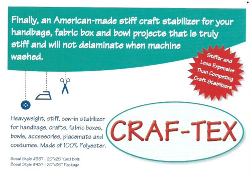 """Craft-Tex Plus Bosal  20"""" Wide Heavey weight double sided fusible Stabiliser per 25cm"""