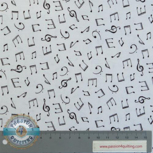 Monochrome musical notes white per 25cm