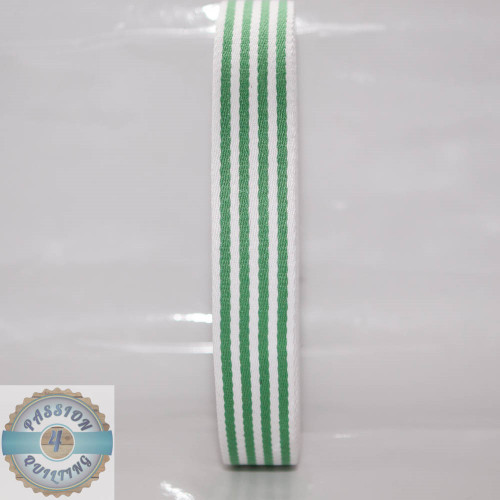 Green Strip Cotton Blend Webbing. Per metre