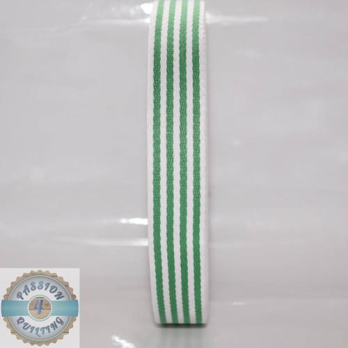 Green Strip Cotton Blend Webbing. Per metre