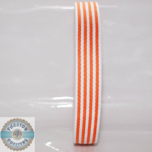 Orange Strip Cotton Blend Webbing. Per metre