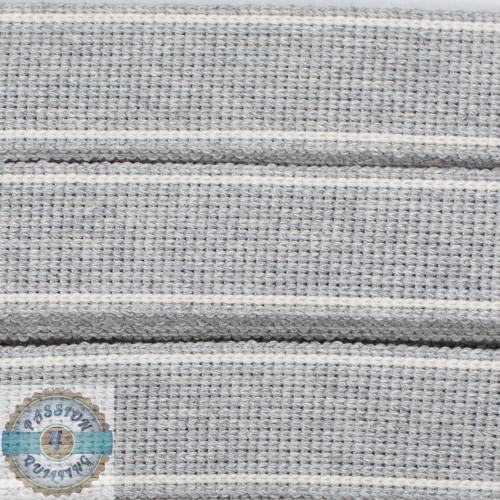 Silver Ecre Cotton Blend Webbing. Per metre
