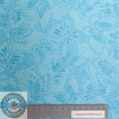 "Blue cotton Flower and butterfly  108"" wide per 25cm"