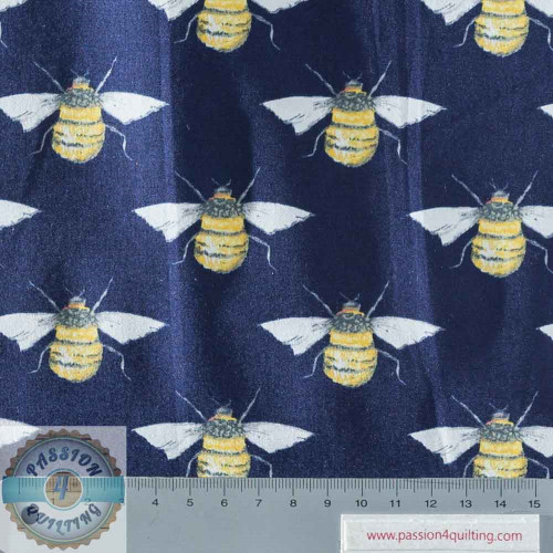 Rose & Hubble True Craft Cotton Bee Blue per 25cm