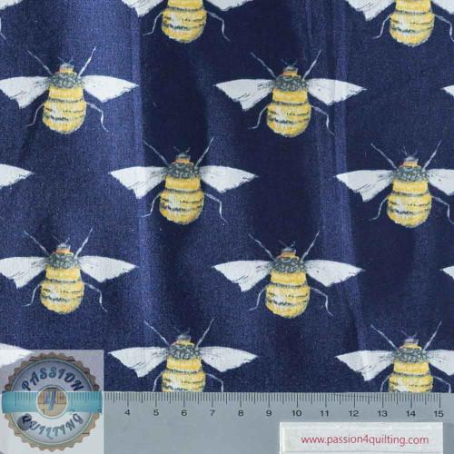 Rose & Hubble True Craft Cotton Bee Blue per 25cm