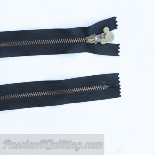 24cm black metal zip with micky mouse pull