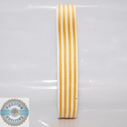 Yellow Strip Cotton Blend Webbing. Per metre