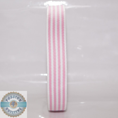 Pink Strip Cotton Blend Webbing. Per metre