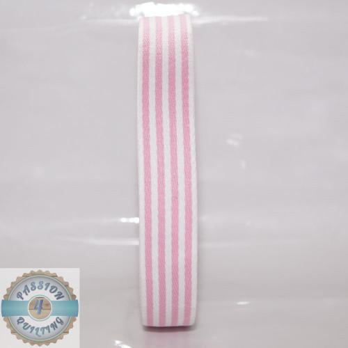 Pink Strip Cotton Blend Webbing. Per metre