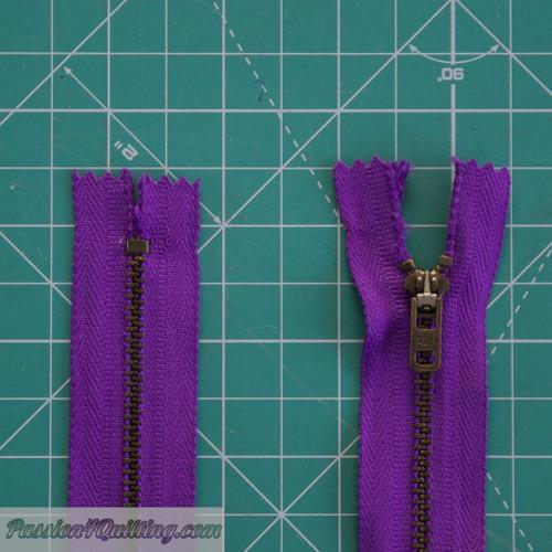 Purple metal  zip 22cm