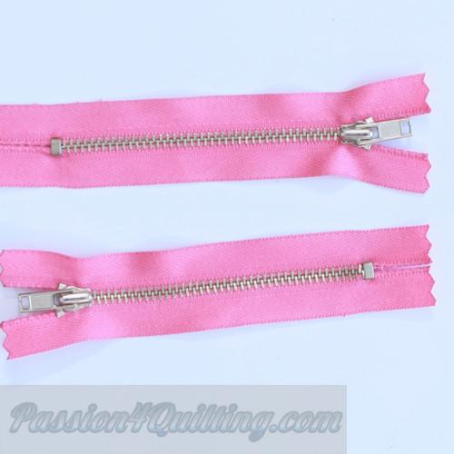13cm pink metal zip