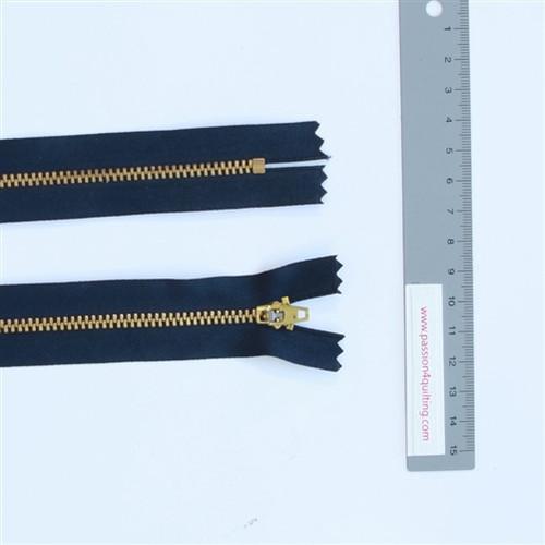 25cm Dark blue gold tooth metal zip