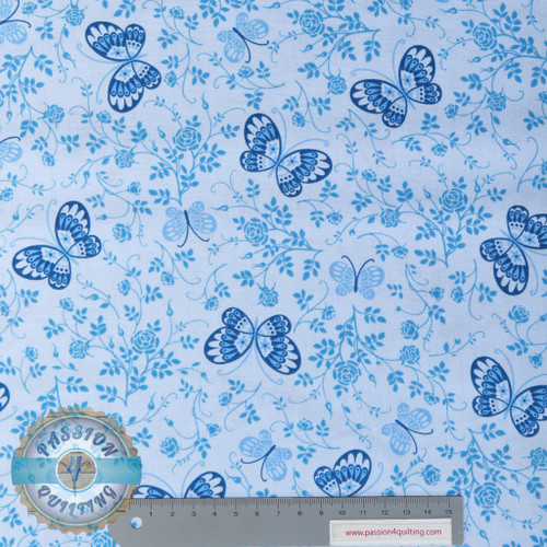 Butterfly sugar and spice Blue per 25cm