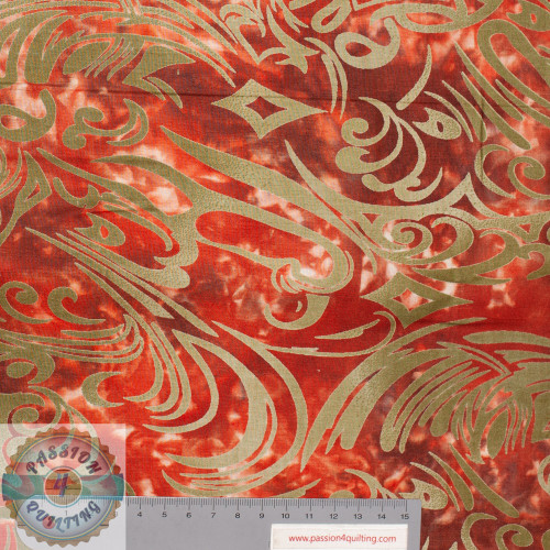 Batik swirl fabric gold brown & pink per 25cm