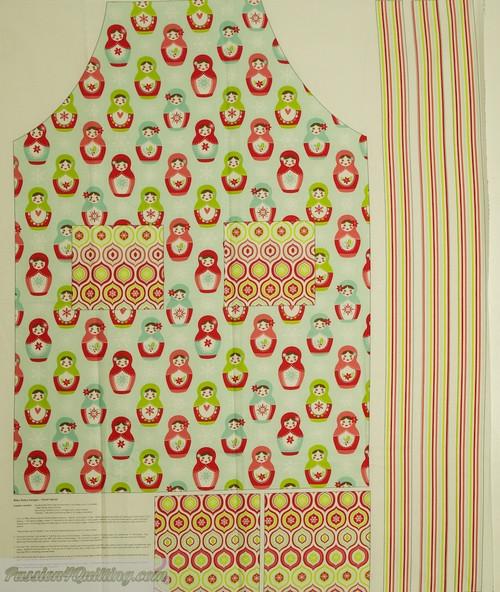Merry Matryoshka apron panel