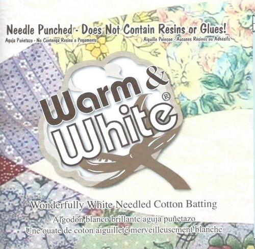"Warm and White Cotton Wadding-Batting 90"" wide per 25cm"