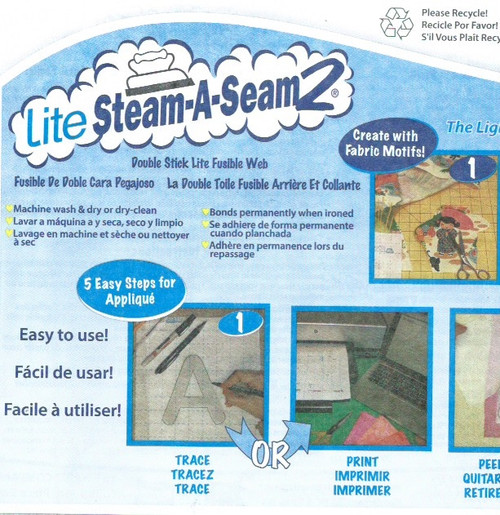Lite Steam a Seam 2.   size  39 by 18 inches