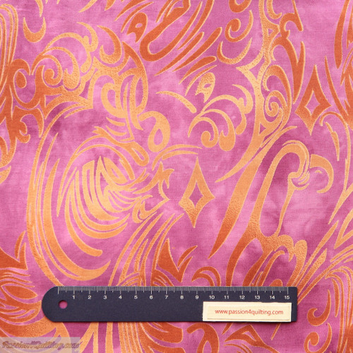 Batik swirl fabric brown & mauve per 25cm