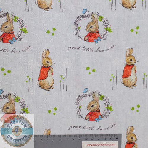 From Visage Fabrics. The Peter Rabbit series. Flopsy 2565-D2. Digitally print to give you the perfect design. Printed on a very pale grey background with a small design of Flopsy rabbit wearing a red jacket. 112cm wide and 100%