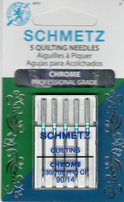 Packof 5 Schmetz Chrome Quilting Needles 130/705H-Q CF  size 90/14