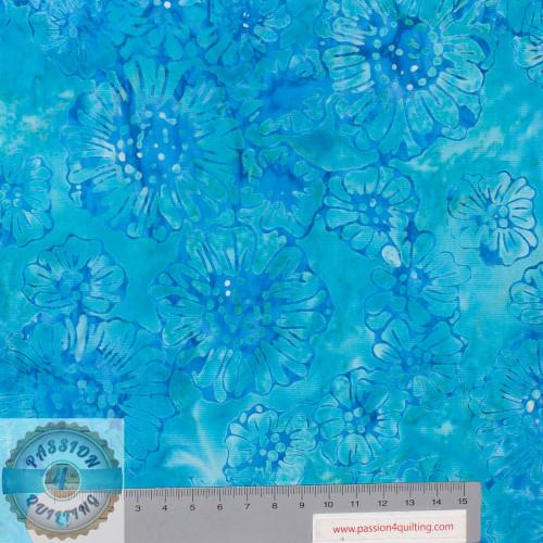 Batik 338Q-13 Flower  Blue Designed by Jacqueline de Jonge per 25cm