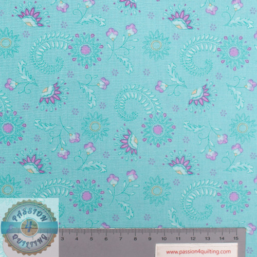 Flowers on Mint Teal 2572-08 per 25cm