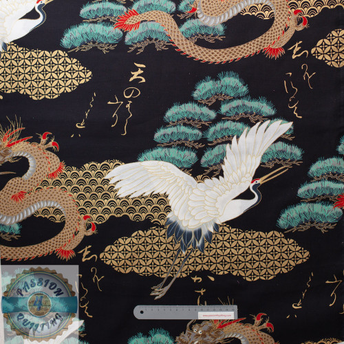 Cranes Dragon Gold on Black per 25cm