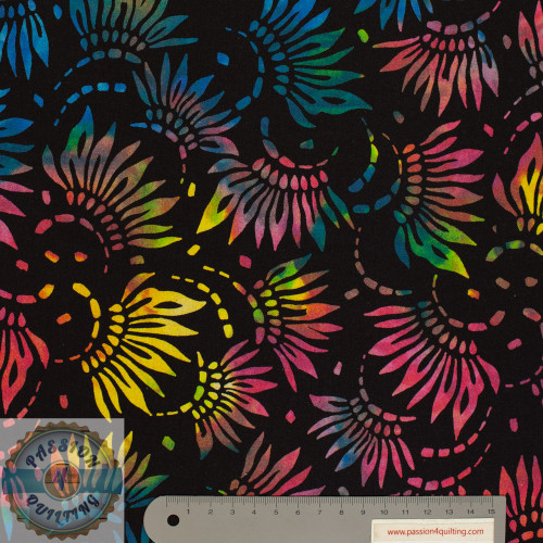"Multi coloured flowers Design on Black 108"" wide per 25cm"