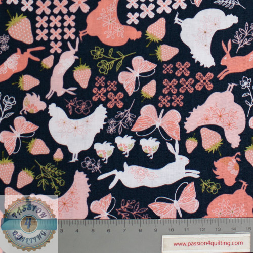 Daisy Mae Strawberry Chicken and Flowers Design 102 per 25cm
