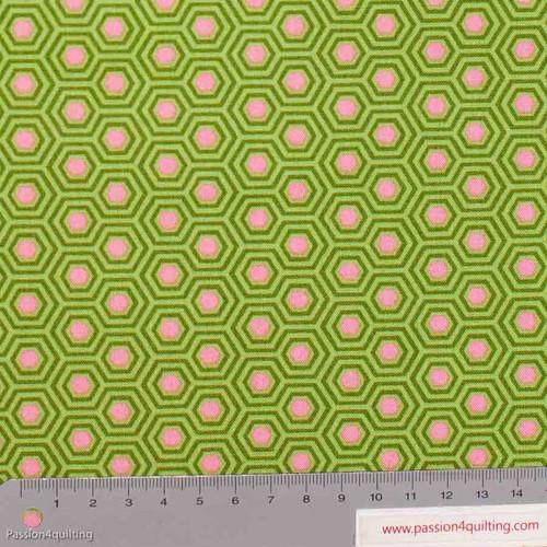 Tula Pink Hexy Juniper Green per 25cm