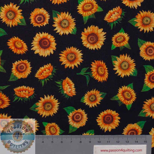 Always Face Sunshine Sunflower 1649 27846J Black  per 25cm