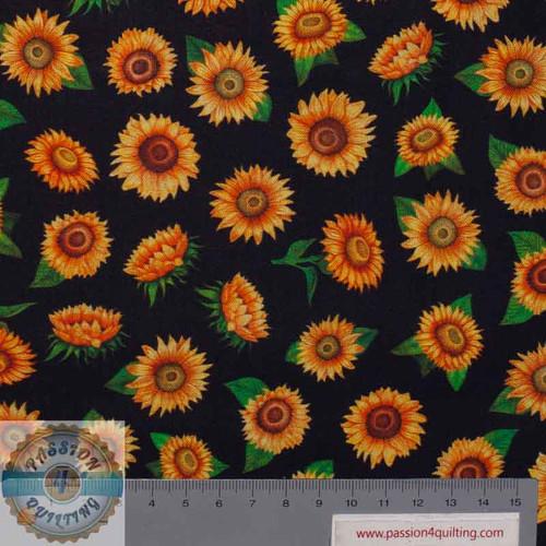 Always Face Sunshine Sunflower 1649 27846J Black  per 25cm