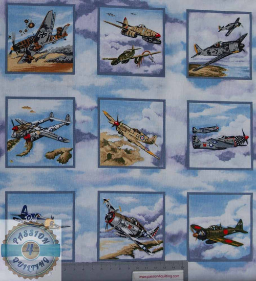 33 Warbird Fighter Aeroplanes  Squares Labels over 3 rows