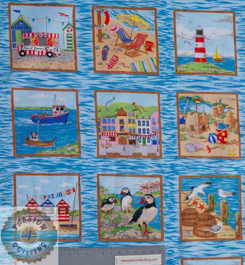 33 Seaside Pictures Squares Labels over 3 rows