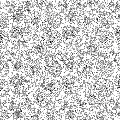 Ink Drawings Black and White Paisley Flowers per 25cm