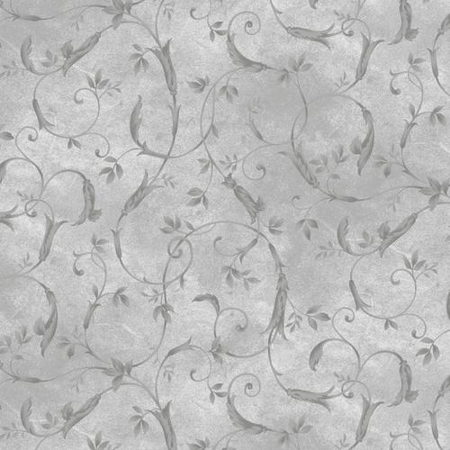 "Silver Scroll Design on Grey 108"" wide per 25cm"