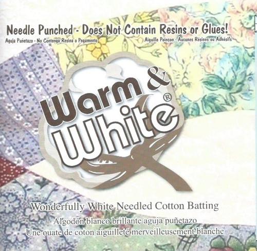 "Warm and White Cotton Wadding-Batting King Size 120"" x 124"" (3.04 x 3.15m)wide"