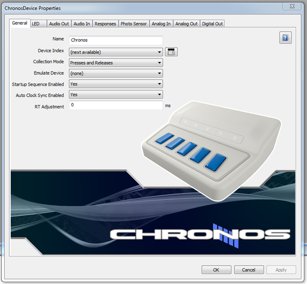 Chronos Device Properties in E-Prime