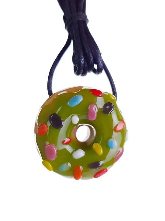 KGB - Mini Glass Doughnut Pendant - Green / Sprinkles