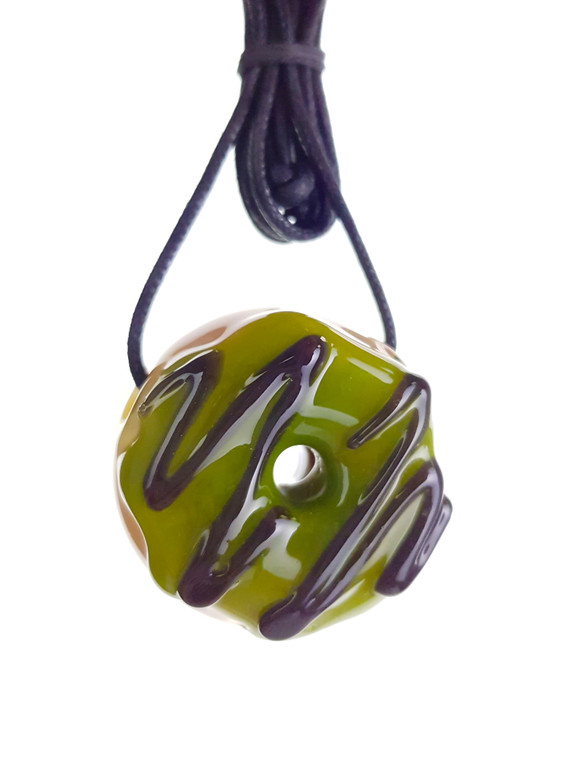 KGB - Mini Glass Doughnut Pendant - Green / Chocolate