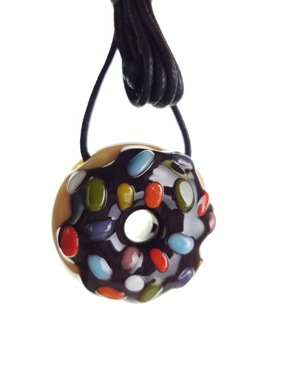 KGB - Mini Glass Doughnut Pendant - Chocolate / Sprinkles