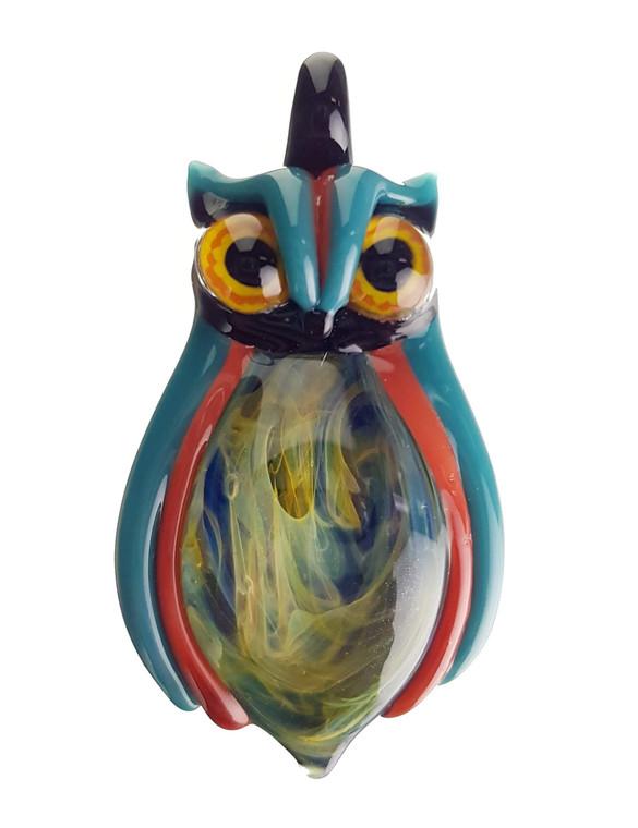 FIAMMA - Glass Owl Pendant w/ Fume Tech Belly - Teal / Red
