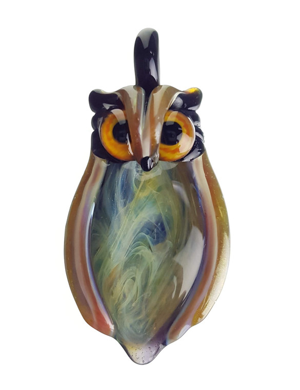 FIAMMA - Glass Owl Pendant w/ Fume Tech Belly - Amber Purple
