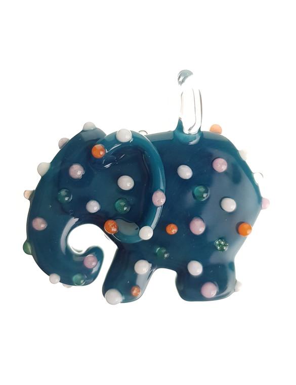 SWEET SHOP - Mini Glass Animal Cookie Pendant - Teal