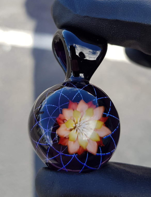 KIMMO - Glass Flower Pendant w/ Dichro Reticello - #1