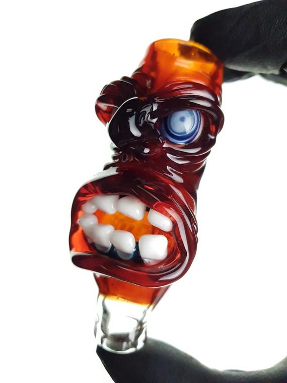 JORDY MINNICK - Full Face Glass Chillum Pipe w/ Single Hole Bowl