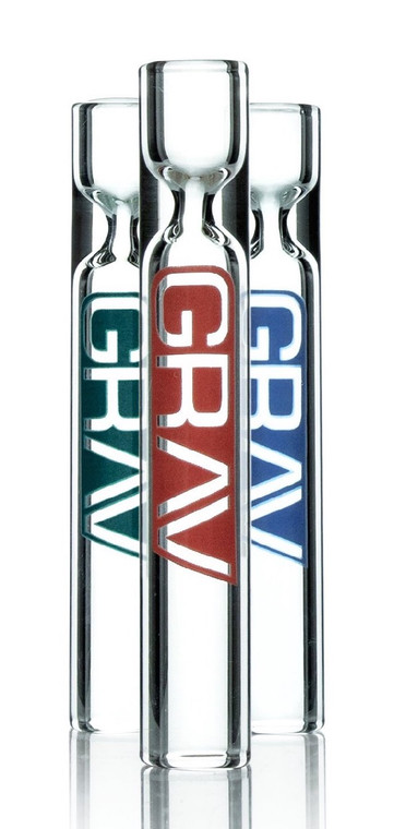 GRAV LABS - 12mm Glass Chillum Taster Pipes (Pick Logo Color)