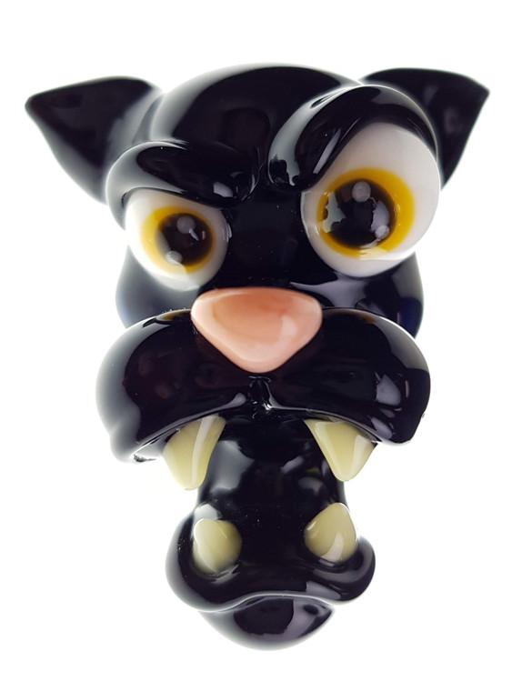 CAL SMITH - Animal Head Glass Pendant - Black Panther